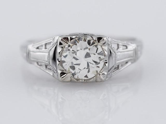 wedding photo - Antique Engagement Ring Art Deco .79 ct Old European Cut Diamond in 18K White Gold