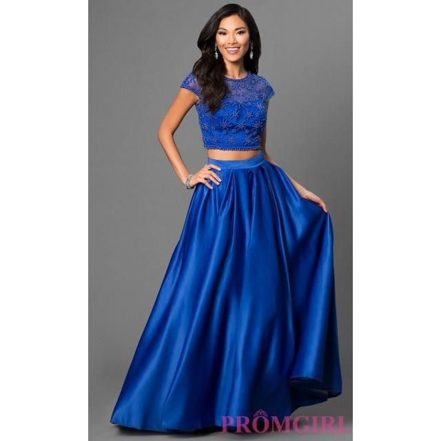 wedding photo - Dave and Johnny Cap Sleeve Two Piece Dress with Bead Accented Bodice - Discount Evening Dresses