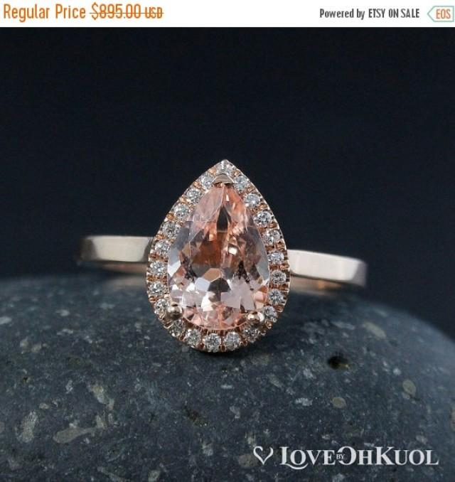 wedding photo - SALE Pink Pear Cut Morganite Engagement Ring – Diamond Halo