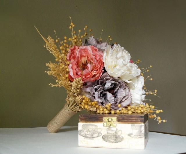 wedding photo - Romantic weddings Wedding Bouquet Bridal Bouquet dried flowers wild flowers Jane Austen Wedding Peony flower Keepsake Bouquet horn of plenty