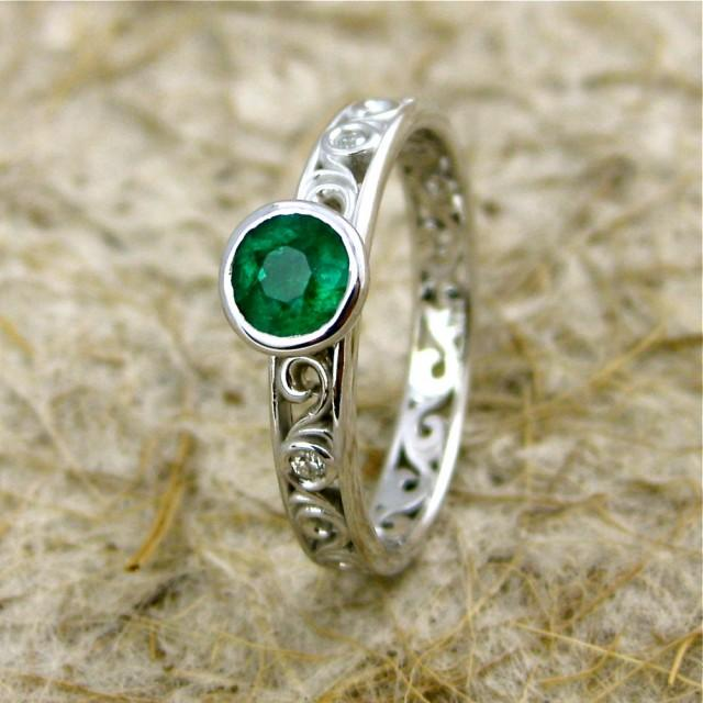 wedding photo - Dark Green Emerald Engagement Ring in 14K White Gold with Diamond Accents in Scroll Motif Size 6