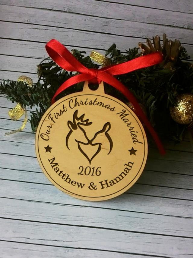 wedding photo - Personalized Our First Christmas Married Couples 1st Christmas Ornament Wedding Gift Ornament wooden Rustic Christmas Ornament