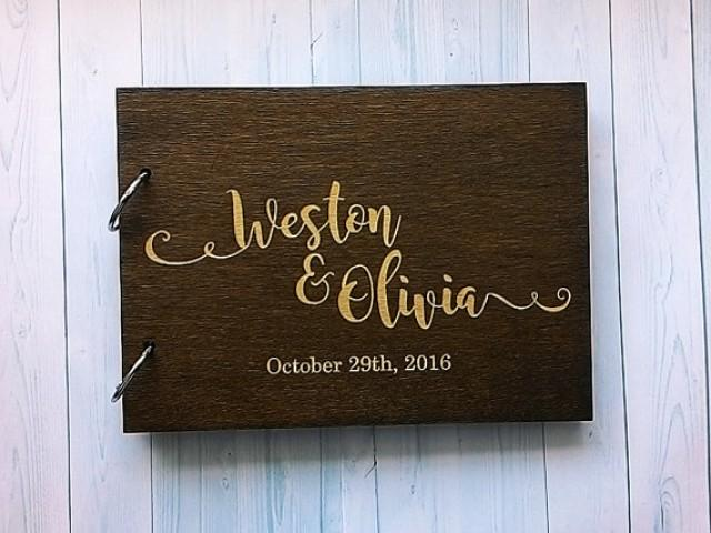 wedding photo - Wedding guest book Rustic Guest book Wood Guest Book Custom Guest Book Rustic Guestbook Laser engraved