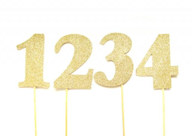 Cake Decor Numbers : Large Gold Glitter Number Cake Toppers - Table Numbers ...