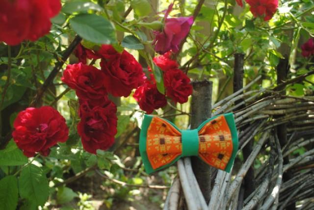wedding photo - Embroidered green orange men's bow tie Sunflower pattern Pretied bow tie Mládenci motýlik muži motýlik women bow ties unisex gifts kids boys