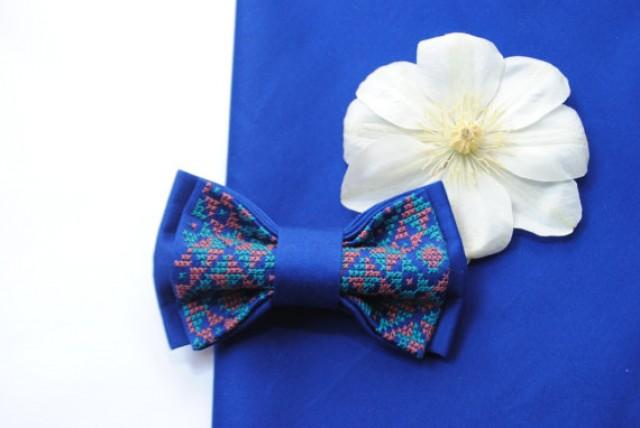wedding photo - ElecBlue Embroidered wedding bow tie Electric blue bowtie Wel to coordinate with stuff in Indigo Cobalt Azure Summer wedding Wedding in blue