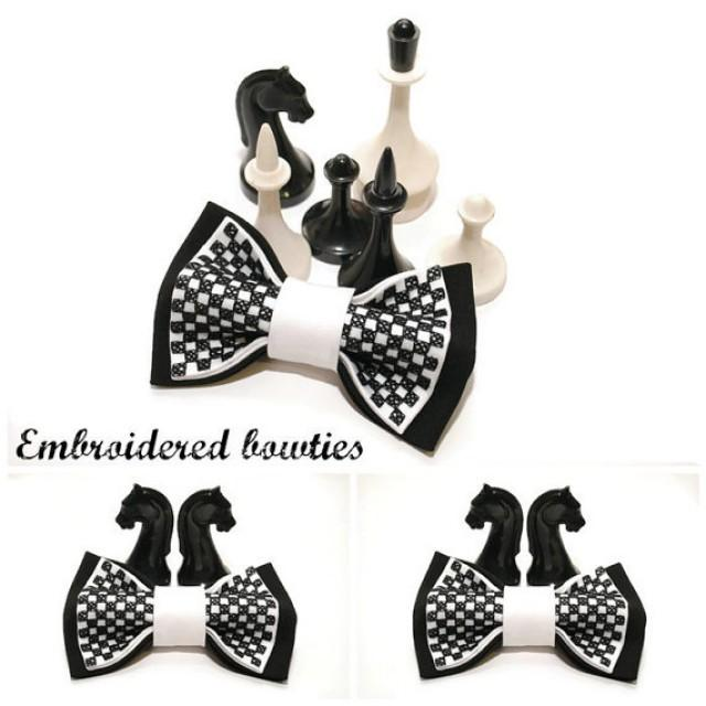 wedding photo - gift him bow tie for men embroidered black white chess bowtie gift ideas groomsman tie gifts boyfriend for chess lovers black wedding A2D5