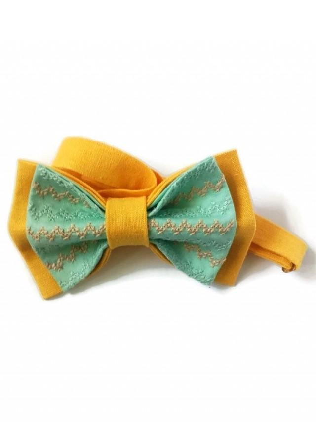 wedding photo - men's bow tie embroidered yellow mint bowtie chevron tie gift men wedding bow tie groom gift for men boyfriend kids necktie yellow gestickte