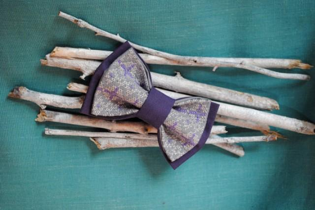 wedding photo - Egra Embroidered bow tie Eggplant gray pretied bow tie Groomsmen ties Men's bowtie Gifts for brother Boys Men's bowties Birthday gift boy