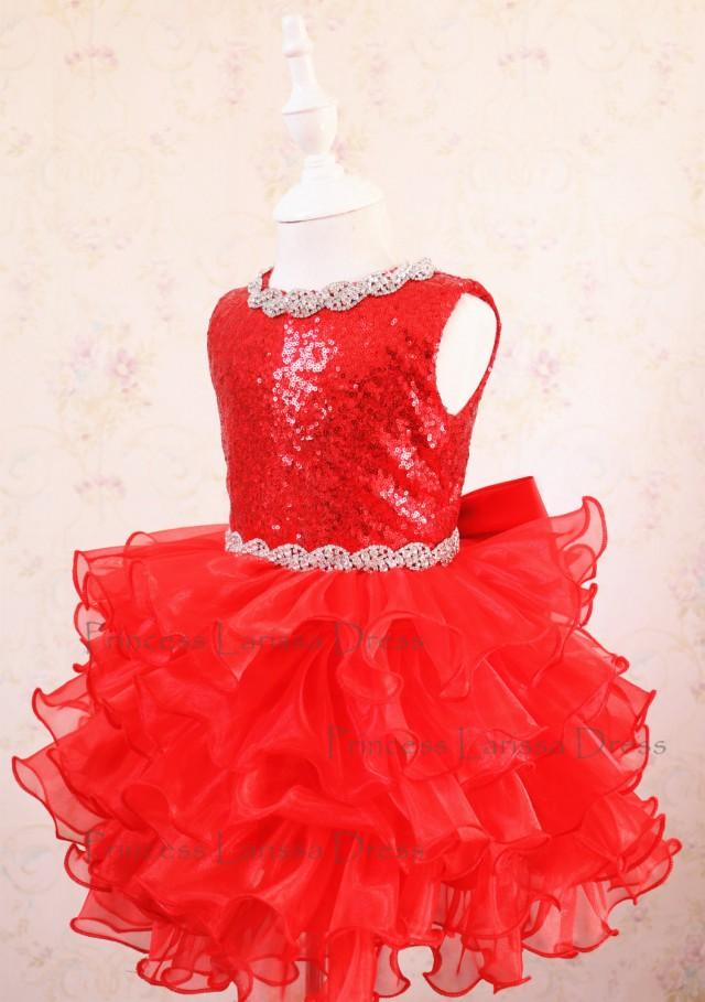 wedding photo - Collection - Baby Girl Red Pageant Dress, Halloween Dress, Toddler Event Dress, Baby Birthday Dress, PD116