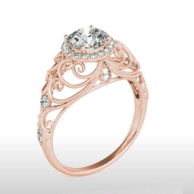 Forever One Moissanite Engagement Ring 14k Rose Gold ...