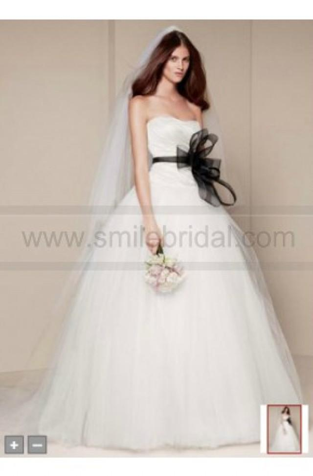 wedding photo - White By Vera Wang Ball Gown With Asymmetrically Draped Bodice Style VW351007