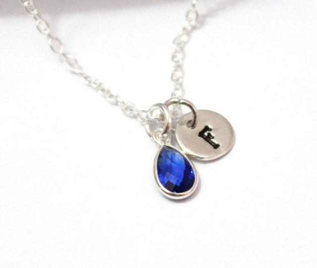 18th Birthday Necklace Sterling Silver Custom Birthstone: Sapphire Necklace Personalized Birthstone, Sterling Silver