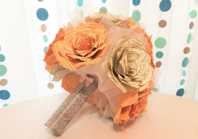 wedding photo - Peach book bouquet, 3 sizes to choose from, Book paper bouquet, Alternative bouquet, Paper book bouquet, Harry Potter Rose bouquet