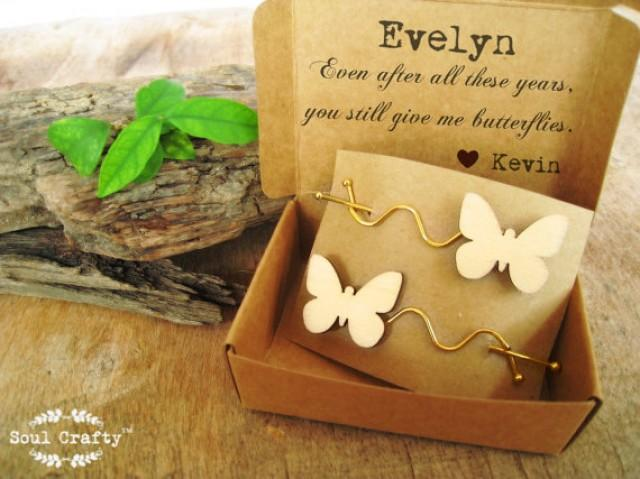 Butterflies Hair Clips Barrette Personalized Message Bridesmaid Best Friend Valentine Wedding
