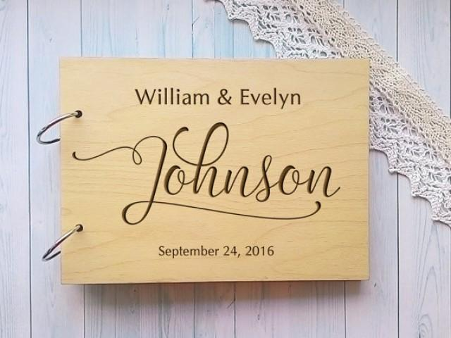 wedding photo - Wedding guest book with names Wood Guest Book Rustic Guestbook Custom Guest Book