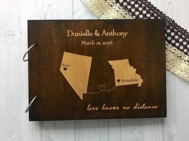 wedding photo - States Map Wedding Guest Book Wooden Map Guestbook Personalized Custom Wedding Map