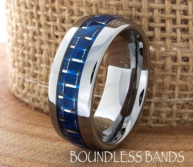 Blue Carbon Fiber Tungsten Wedding Ring Navy Blue Two Tone
