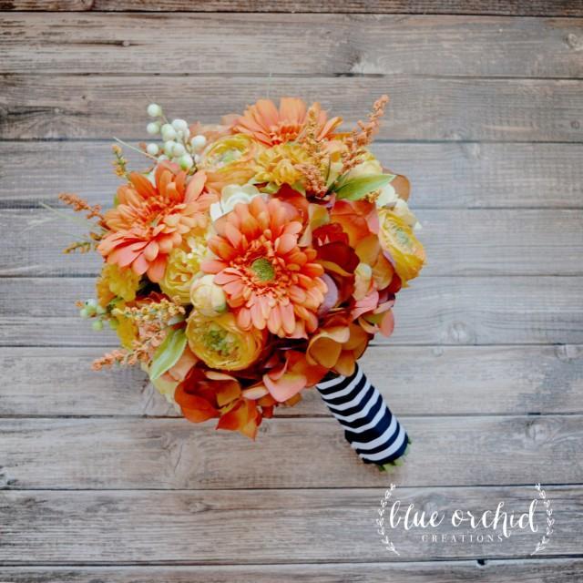 Silk Orange Fall Flowers: Yellow And Orange Bouquet, Silk