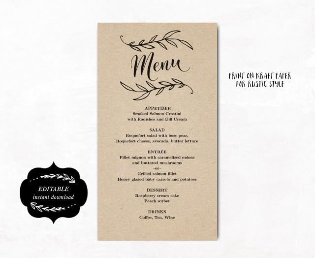 Simple Elegant Wedding Reception Menu Printable Template Kraft