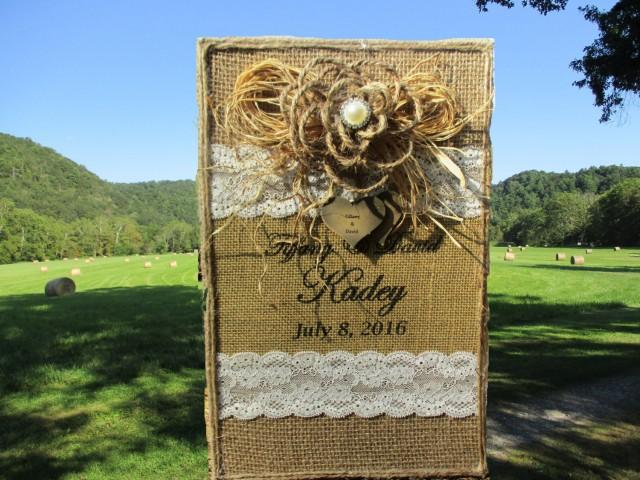 rustic wedding album burlap and lace photo album 4 x 6 photos rustic holds 400 pictures. Black Bedroom Furniture Sets. Home Design Ideas