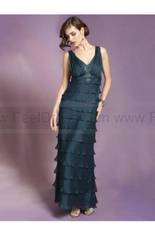 wedding photo - A-line V-neck Dark Green Beading Chiffon Sleeveless Floor-length Mother of the Bride Dress