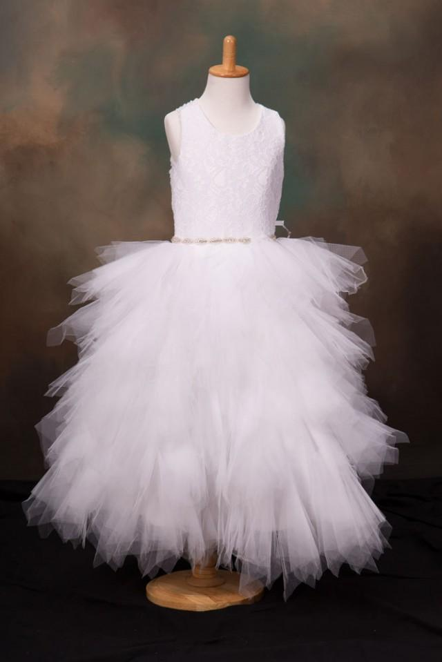 wedding photo - White Stunning Lace Teared Tutu Flower Girl Christening Special Occasion dress with a diamante trim