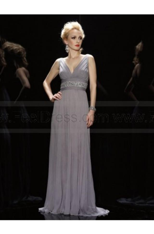 wedding photo - A-line V-neck Gray Beading Chiffon Sleeveless Floor-length Mother of the Bride Dress