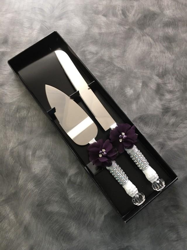 plum wedding cake knife set burlap knife set cake cutting set rustic wedding vintage. Black Bedroom Furniture Sets. Home Design Ideas
