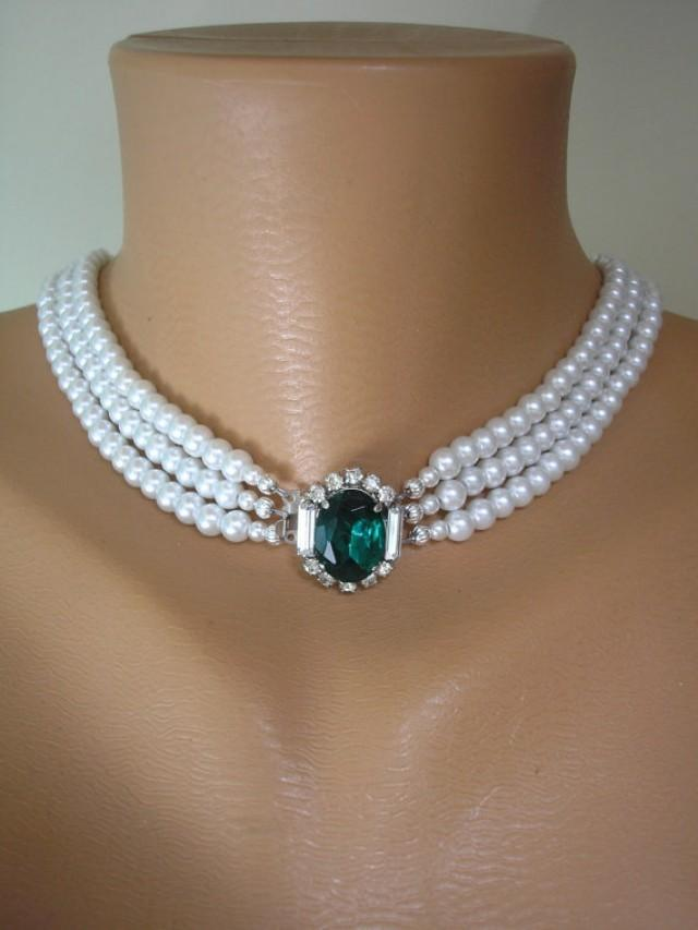 wedding photo - Emerald and Pearl Necklace, Emerald Bridal Choker, Great Gatsby, White Pearls, Wedding Jewelry, Bridal Necklace, Pearl Necklace, Art Deco