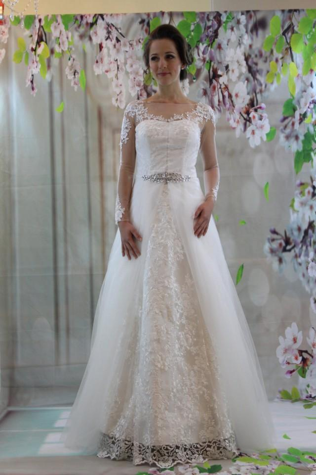 Classic full lace a line bridal gown sweetheart princess for Full sleeve lace wedding dress