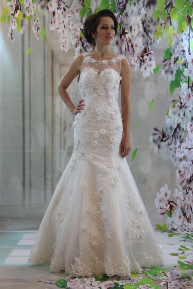 Gorgeous 3d lace illusion neckline bridal gown white for Wedding dress dry cleaning denver