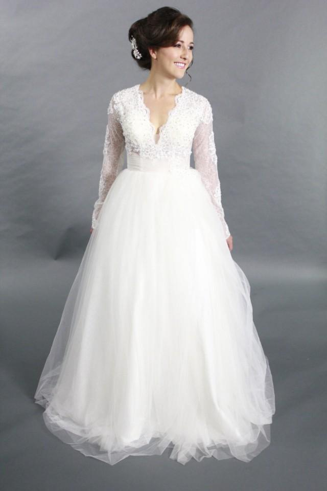 V Neck Wedding Dresses With Sleeves : Long sleeves lace applique ballgown v neck wedding dress