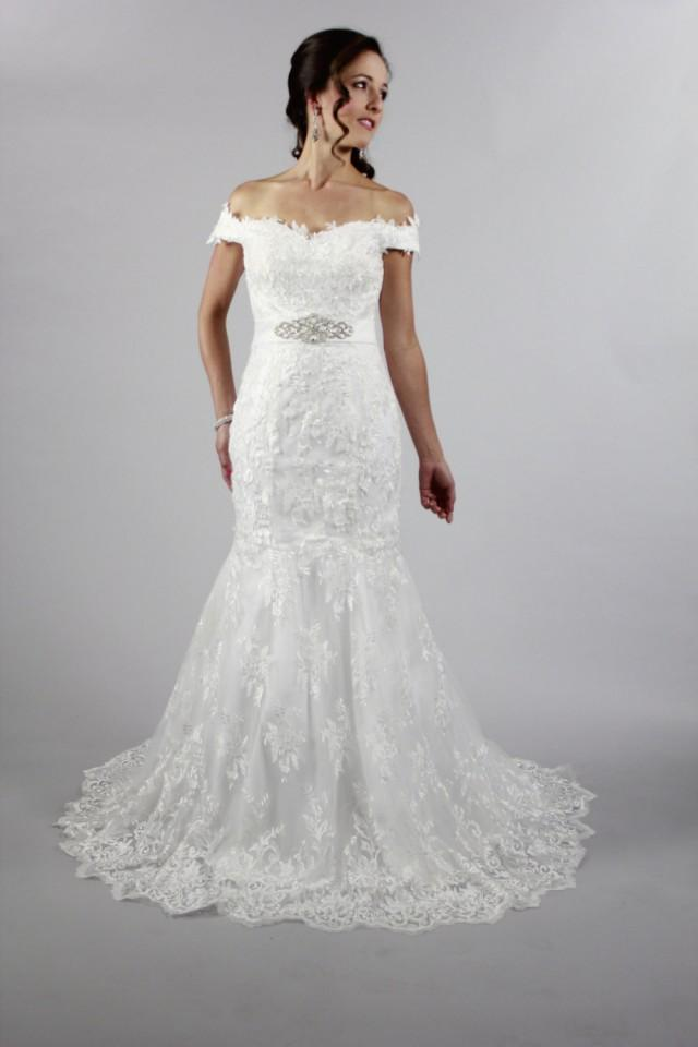 New design off shoulder white lace wedding dress with for How to make a beaded belt for a wedding dress