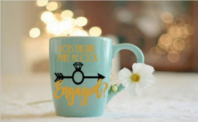 wedding photo - does this ring make me look engaged? DIY decal, coffee mug decal, does this ring make me look engaged? coffee cup, engagement photo prop,