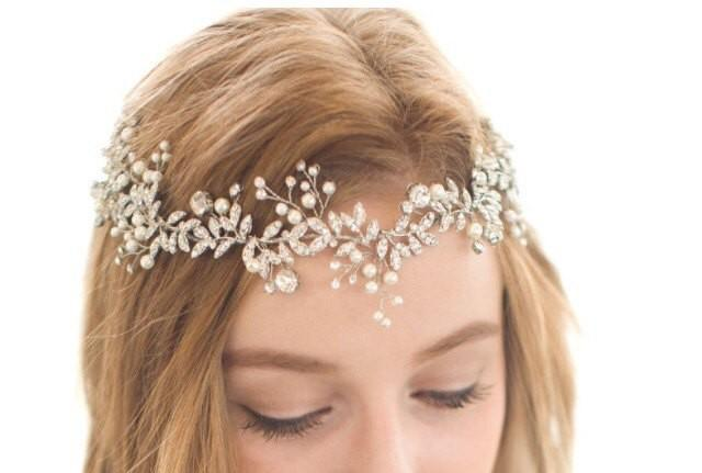 wedding photo - Bridal Vine, Bridal Wreath, Silver Leaf Vine, Rhinestone Vine, Gold Leaf Vine, Pearl Vine, Bridal Headpiece, Bridal Headband,  Bridal Hair