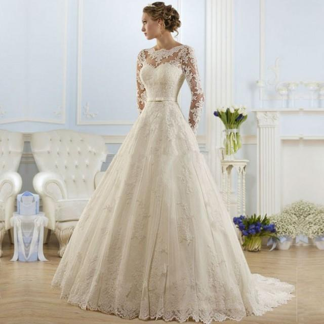 wedding photo - Backless Lace Long Sleeve Wedding Dress