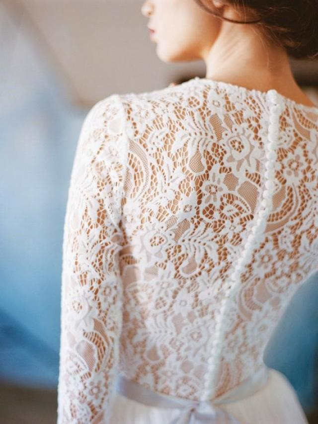 wedding photo - Orion // Lace Wedding Dress - Long Sleeve Wedding Dress - Wedding Gown - Chiffon Wedding Dress - Modest Wedding Dress - Winter Wedding Dress