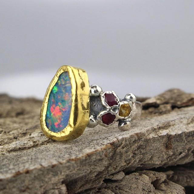 wedding photo - Opal Ring, Boho Ring Gold, Raw Opal Ring, Raw Stone Ring, Opal Jewelry, Blue Stone, Boho Ring, Boulder Opal Ring, Raw Stone Engagement Ring