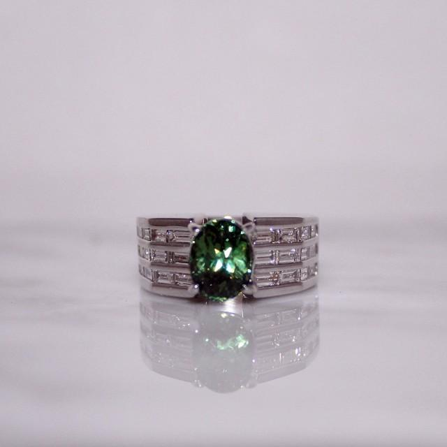 wedding photo - Demantoid Garnet Ring with Diamonds, Wedding, Engagement, Anniversary, Gift, Full Lab Report and Appraisal Included (SALE-WAS 9,900.00)