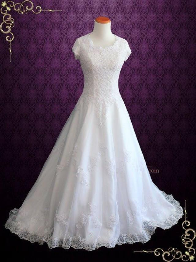 Modest lace wedding dress with short sleeves 2593461 for Short modest wedding dresses