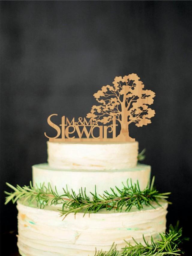 wedding photo - Tree Wedding Cake Topper Personalized Wood Cake Topper Rustic Cake Topper Wooden Mr Mrs Last name topper