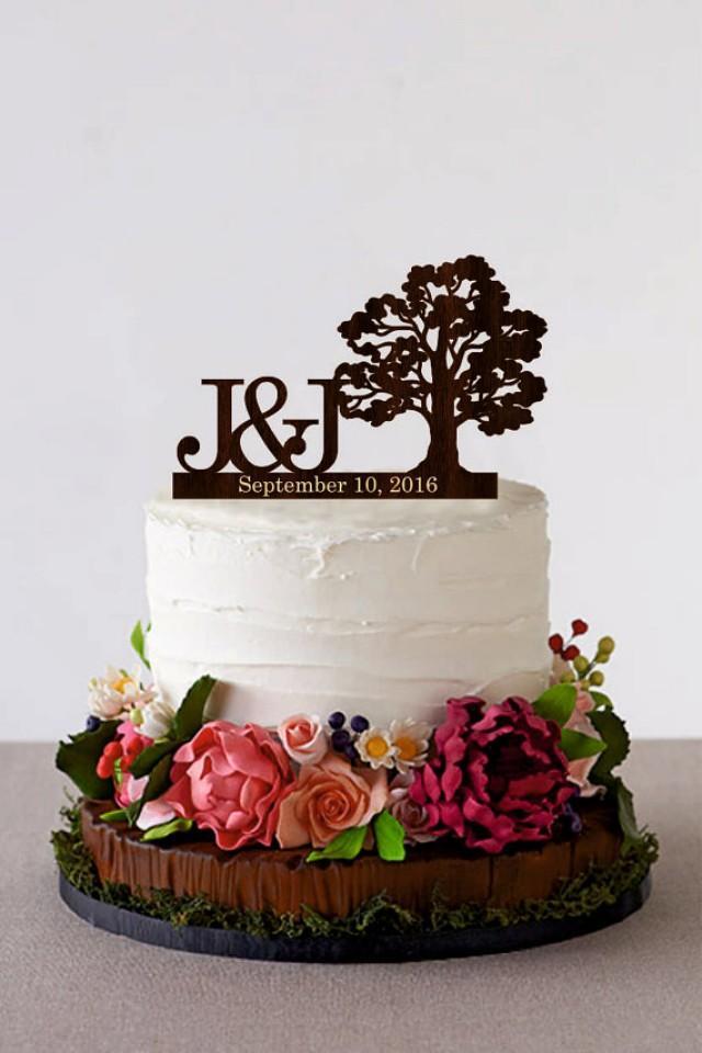 wedding photo - Tree Wedding cake topper Personalized Monogram Wedding Cake Topper Rustic Wedding Cake Topper