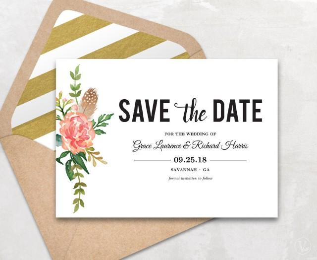 Save the date template floral save the date card boho save the date printable card instant for Save the date cards templates free