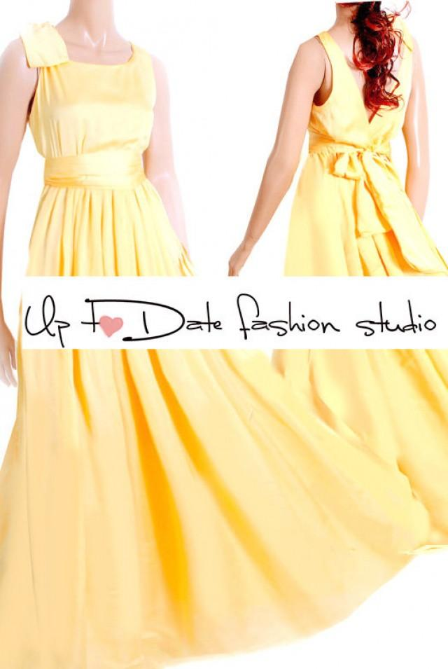 Maxi yellow bridesmaid wedding party cocktail for Yellow maxi dress for wedding