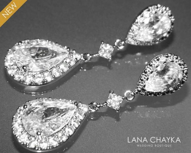 wedding photo - Cubic Zirconia Bridal Earrings Silver CZ Wedding Earrings Clear Cubic Zirconia Teardrop Dangle Earrings Wedding Earrings Bridal CZ Jewelry