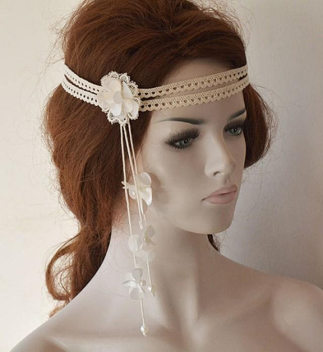 wedding photo - Wedding Headband, Lace Bridal Head Piece, Bridal Headband, Bridal Hair Accessories