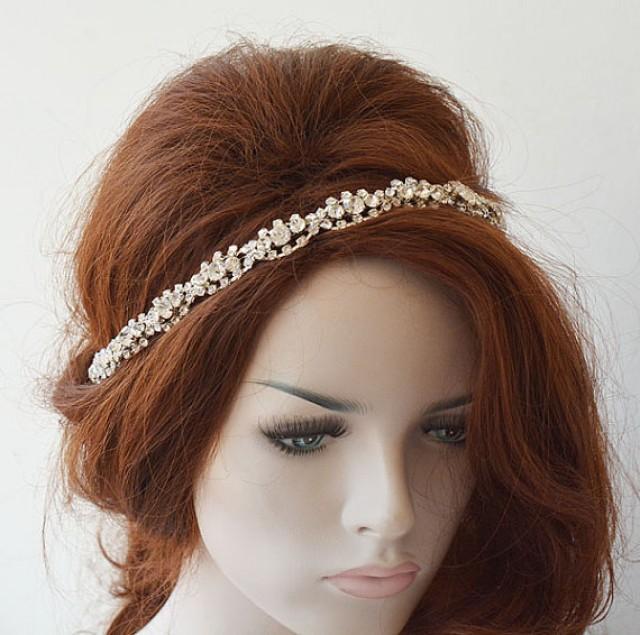 wedding photo - Rhinestone Bridal Headband, Bridal Headpiece, Rhinestone Wedding Headpiece, Wedding Headband, Bridal Hair Accessories