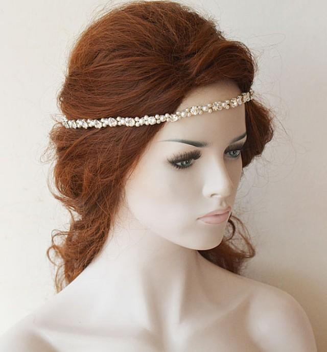 wedding photo - Rhinestones Headband, Wedding Headband, Bridal and Pearl Headband, Bridal Headpiece, Wedding Hair Accessories