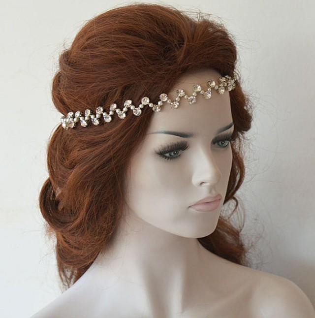 wedding photo - Rhinestones and Pearl Headband, Wedding Headband, Bridal Headband, Bridal Headpiece, Wedding Hair Accessories